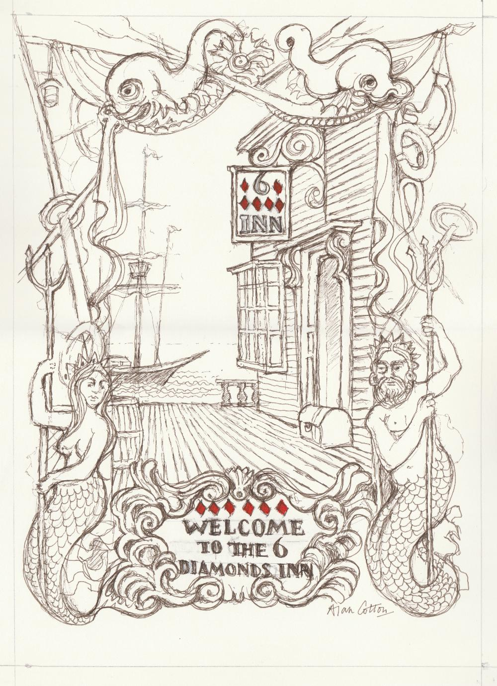 Alan Cotton (British). '6 of Diamonds / Welcome to the 6 Diamonds Inn'. Ink drawing on paper.