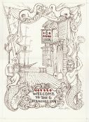 Alan Cotton (British). '6 of Diamonds / Welcome to the 6 Diamonds Inn'. Pencil drawing on paper.