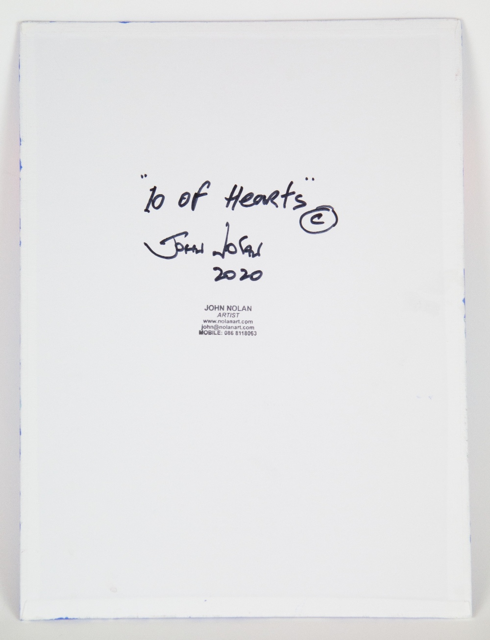 John Nolan (Irish). '10 of Hearts'. Acrylic on board, signed, titled and dated 2020 verso. 45.3 x - Image 2 of 2