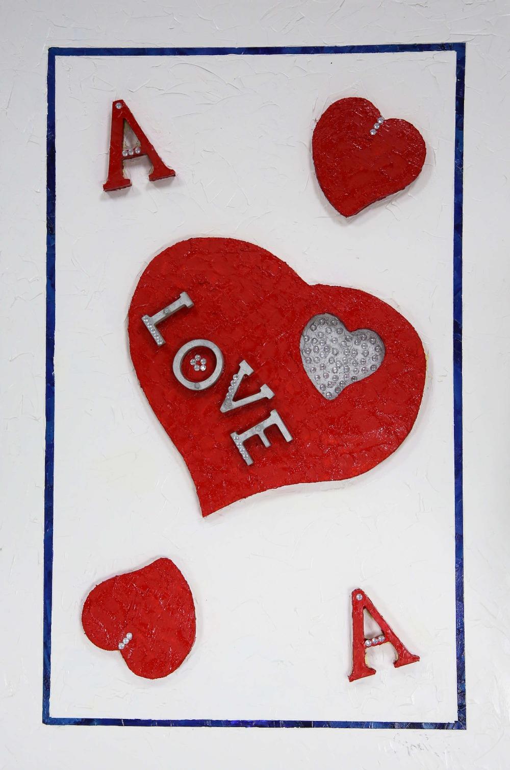 Floella Benjamin DBE DL (British, b.1949). 'Ace of Hearts', mixed media. Floella Benjamin: One of