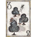 Lou Tonkin (British). '3 of Clubs', paint and ink on paper. Sheet size 29.75 x 20.75cm. Unsigned.