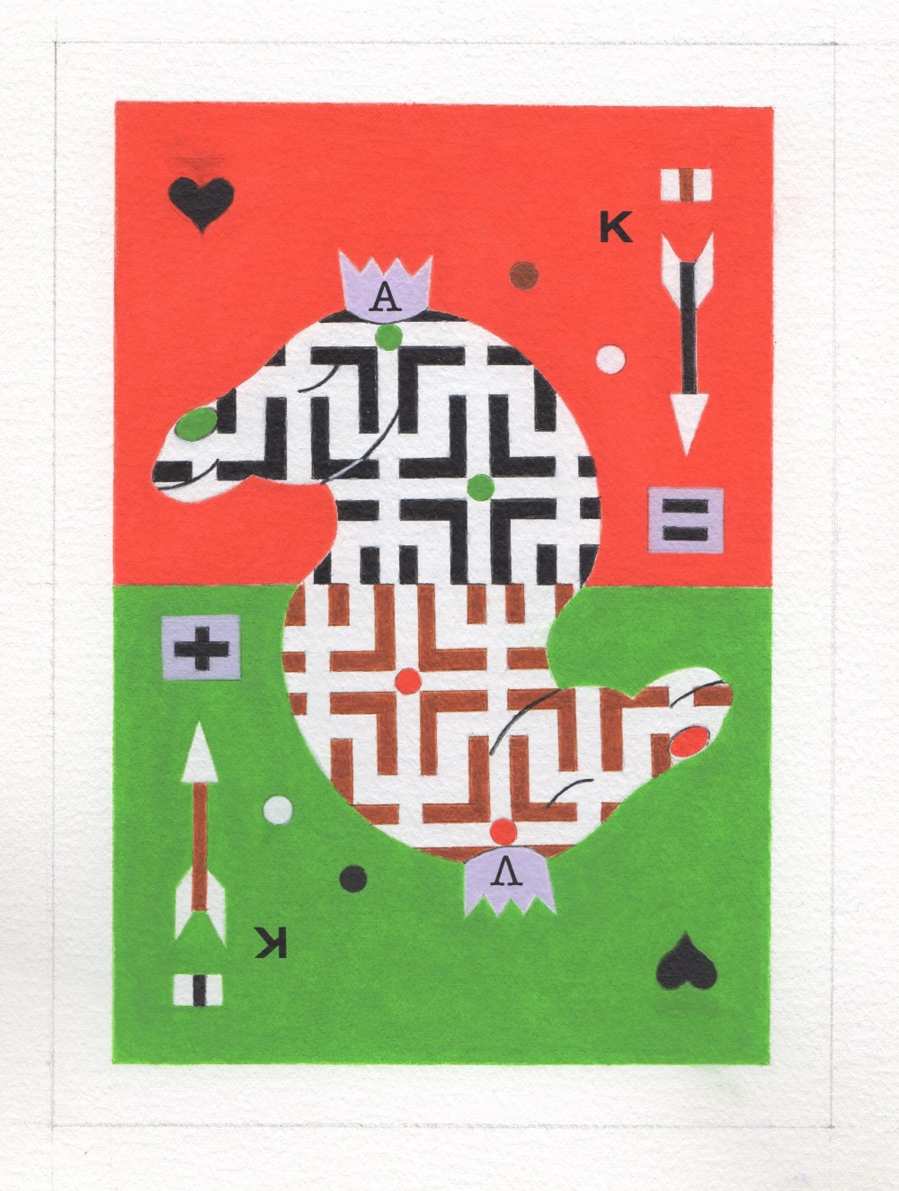 Alexander Vorobyev (Russian, b.1952). 'King of Hearts', watercolour on paper, signed with initials