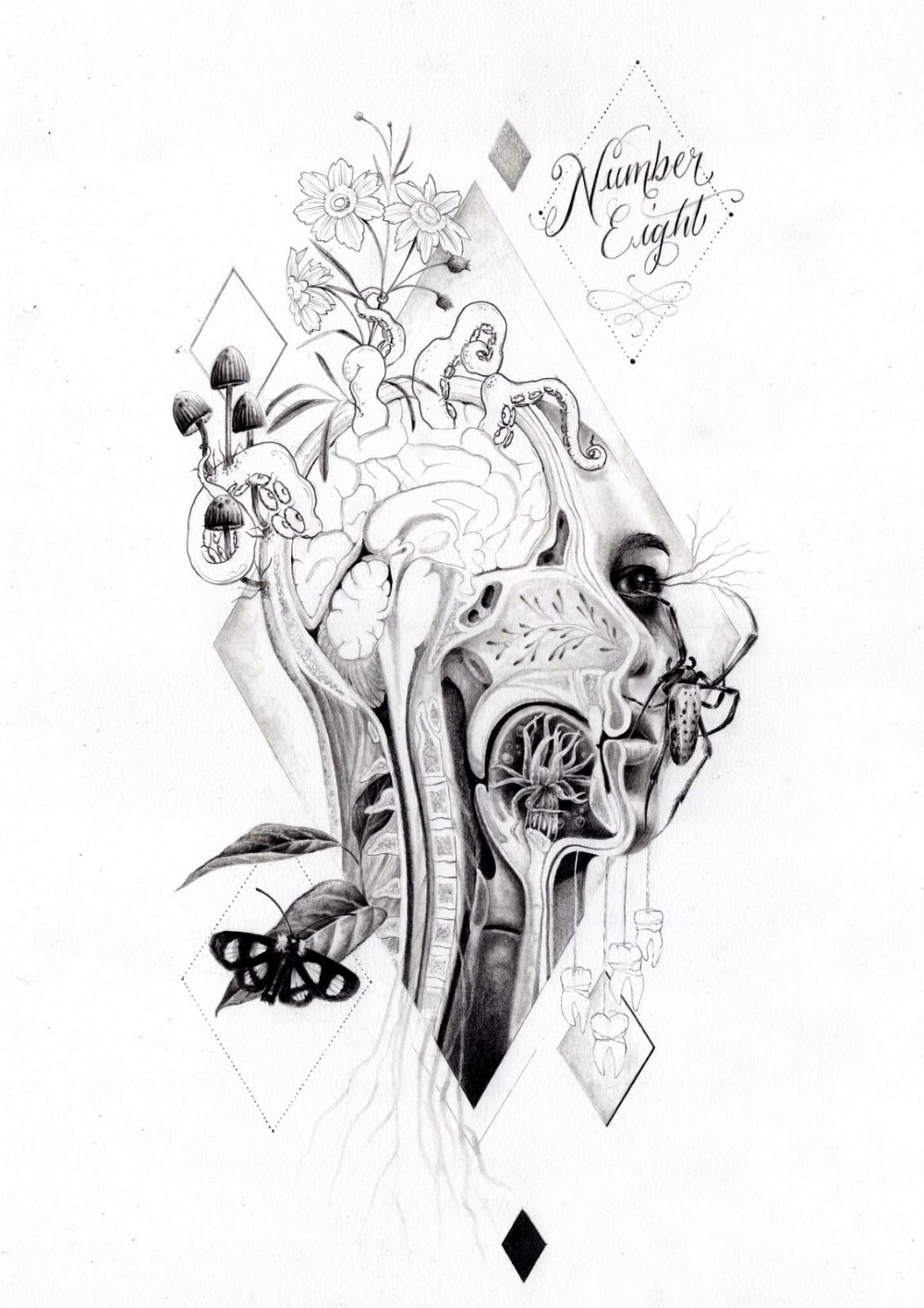 Remy Nurse (British). '8 of Diamonds', pencil and ink. Remy Nurse is a tattoo artist living and