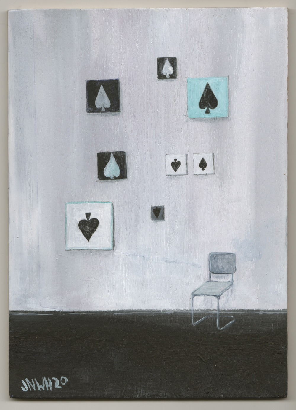 John Hainsworth (British). '8 of Spades', oil on board, signed and dated front and back. 21 x