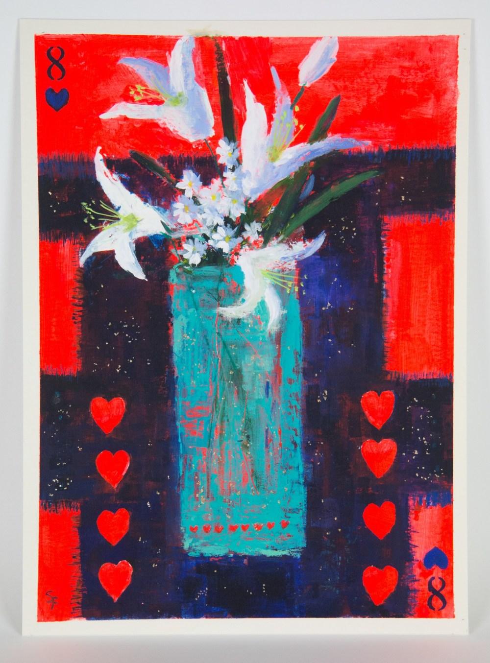 Soraya French (Iranian, b.1957). '8 of Hearts / Lilies on Threadbare Indian Cloth'. Mixed media on