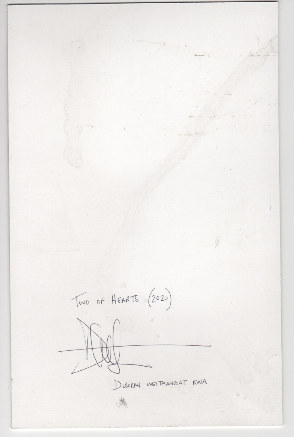 Deborah Westmancoat RWA (British, b.1968). '2 of Hearts'. Ink, enamel and snowmelt collected on - Image 2 of 2
