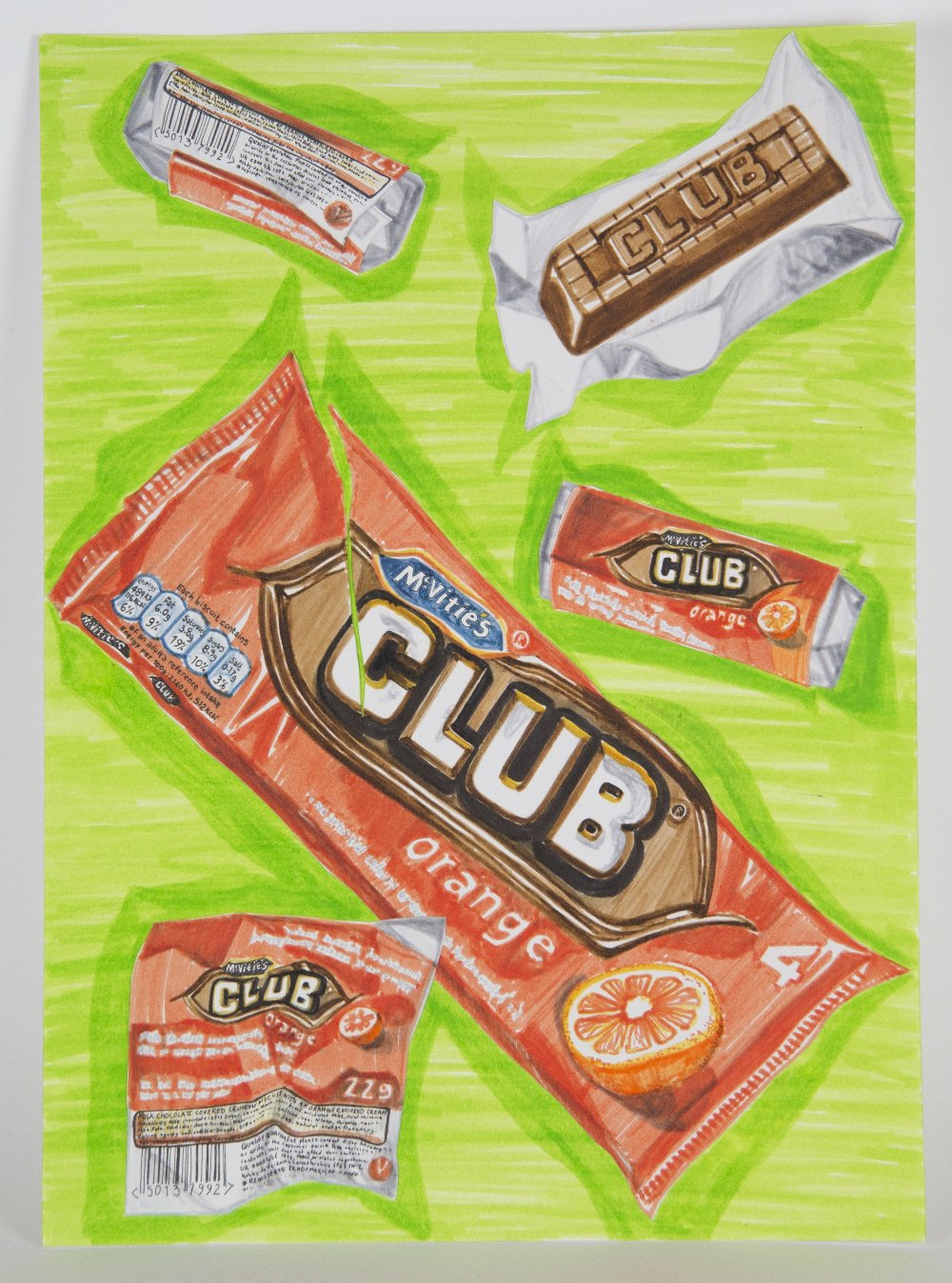 Hannah Kokoschka (British). '4 of Clubs', pen on paper. Signed and dated 2020 verso, sheet size 36 x