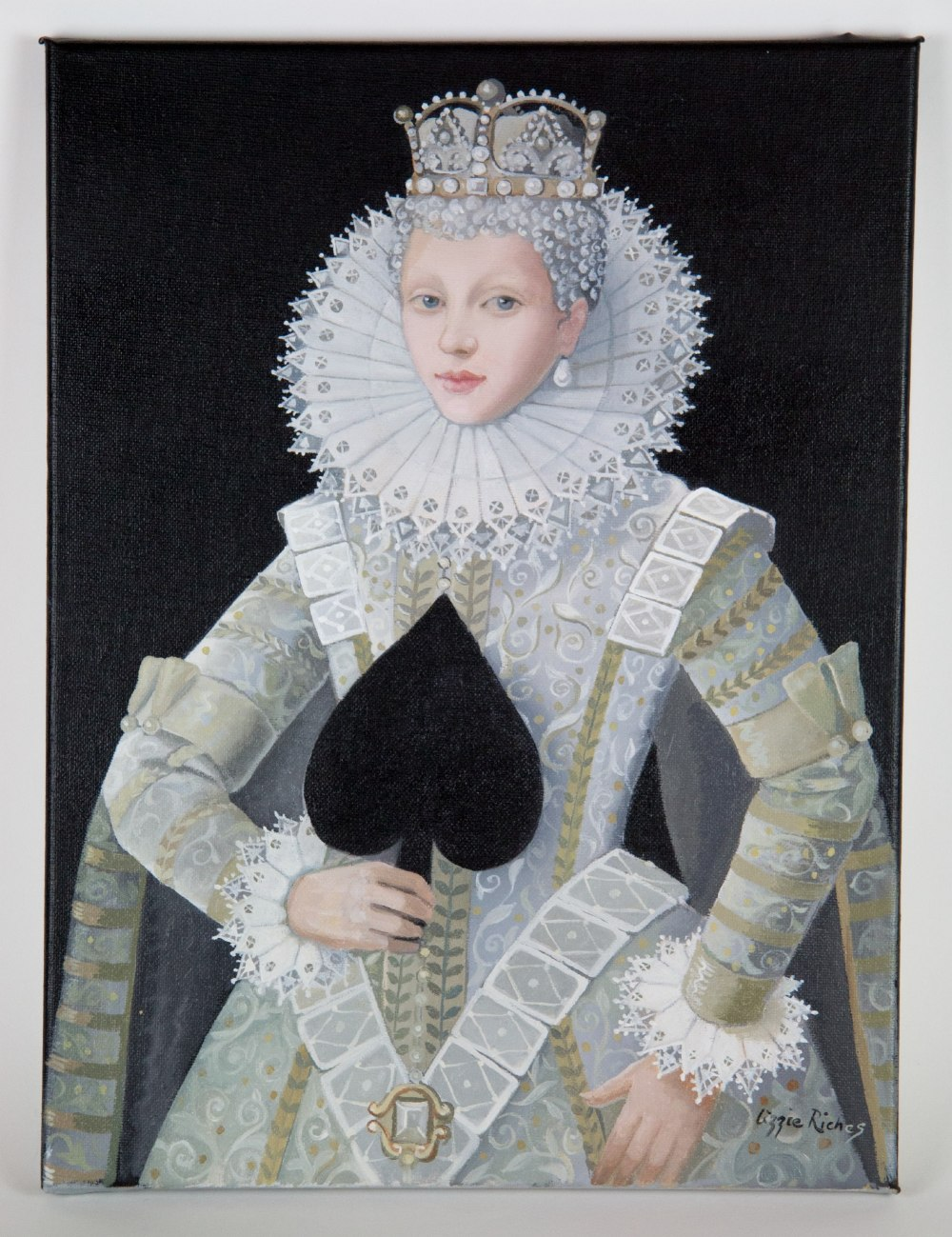 Lizzie Riches (British, b.1950). 'Queen of Spades'. Oil on canvas, signed. 40 x 30cm. I was born