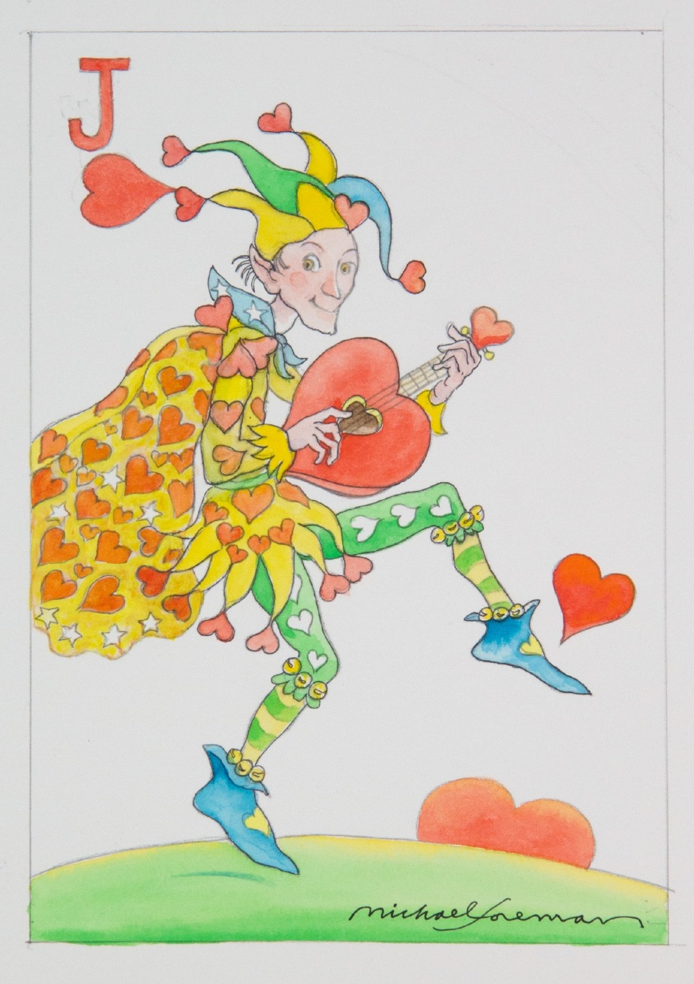 Michael Foreman (British). 'Jack of Hearts', watercolour on paper, signed. Image size 23.5 x 16.5cm.