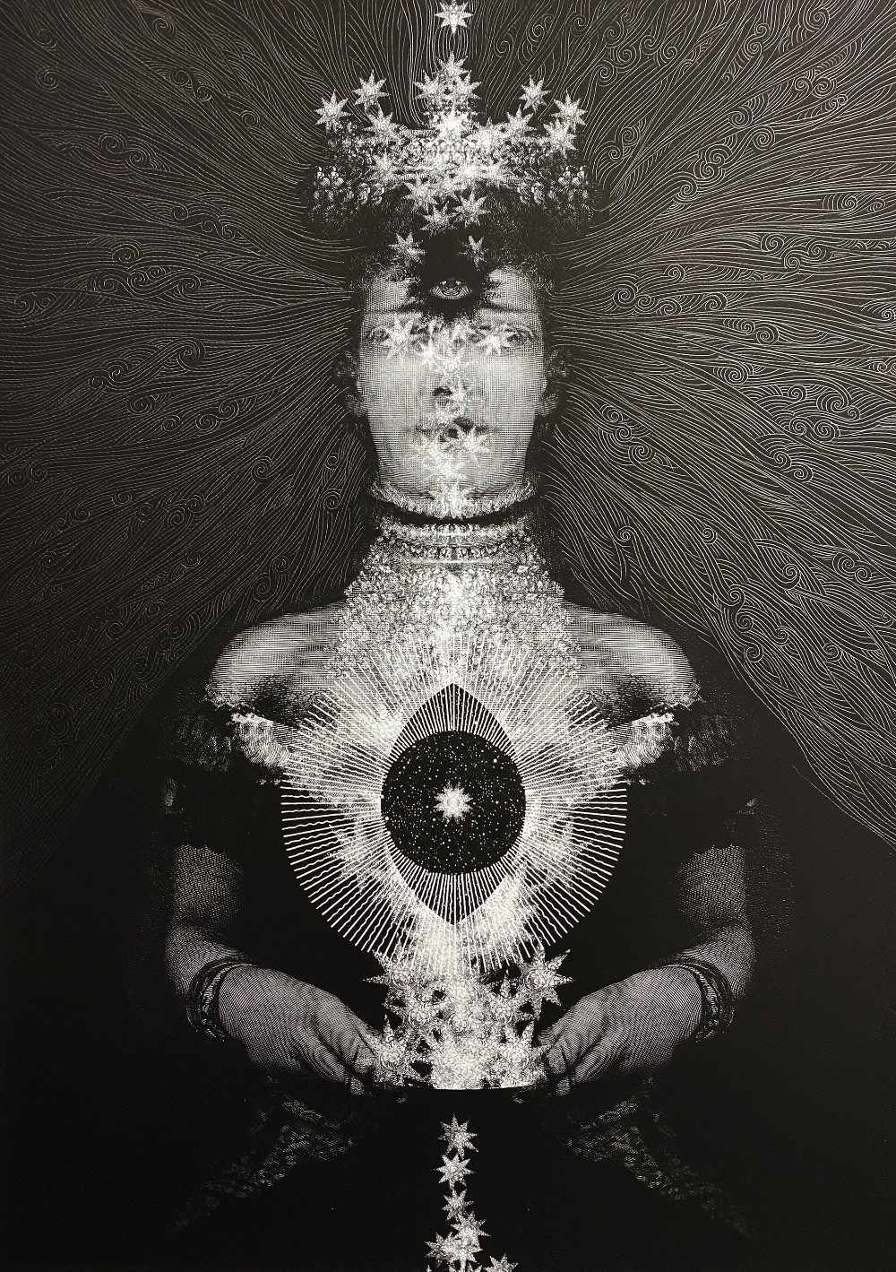 Dan Hillier (British). 'Queen of Hearts', print with hand embellished drawing . Rolled. 59 x 42cm.