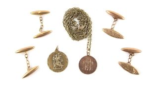 Selection of mixed gold jewellery, a St. Christopher pendant, together with a rose gold disc