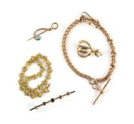 Mixed group of gold jewellery, fancy link bracelet, 20cm in length, stamped 22 ct, bar brooch, set