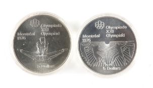 Elizabeth II Canada 1976 Montreal Olympics 5 dollars, two cased silver proofs depicting rowing and