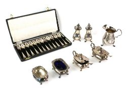 Set of twelve modern silver coffee spoons with feather banded decoration, by James Dixon & Sons