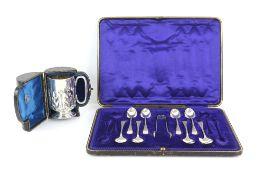 Edward VII silver christening mug, by Goldsmiths & Silversmiths Ltd, Birmingham 1906, in fitted