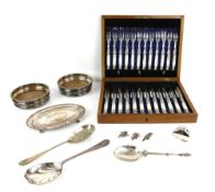 Cased set of twelve mother of pearl handled tea knives and forks, pair of bottle coasters, two