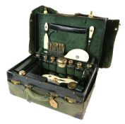 Edward VII silver-gilt mounted dressing table case and contents comprising dressing table bottles,