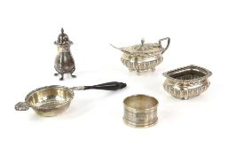Victorian and later silver items to include matching open salt and mustard pots, the salt by