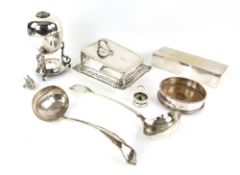 Selection of silver-plated items to include a table cigarette box, 24 cm wide, wine bottle