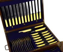 Silver-plated table service for twelve place settings, comprising twelve each of table knives,