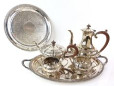 Silver plated four piece tea and coffee service, comprising coffee pot, teapot, cream jug and
