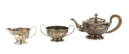 George VI silver three-piece tea service, by Cooper Brothers & Sons Ltd, Sheffield 1938,