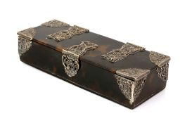 George V silver mounted tortoiseshell box, the interior with divisions, London, 1934, 15.5cm x 6cm x