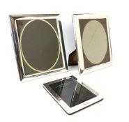 Modern pair of silver photograph frames, by Francis Howard Ltd., Sheffield 1988/9, 31 cm high,
