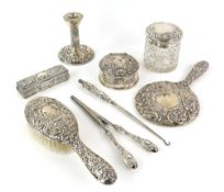 Modern silver-mounted dressing table set, by W I Broadway & Co, Birmingham 1974/5, comprising