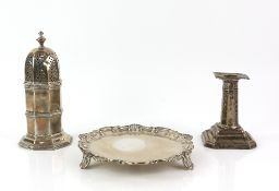 Victorian octagonal silver sugar caster , Chester 1897, 16 cm high, a Victorian silver waiter,