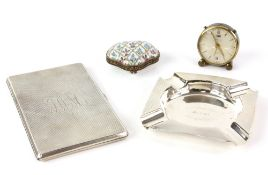 Modern silver ashtray, square with capped corners and engine-turned decoration to borders, by Lanson