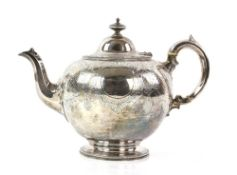 Victorian silver teapot with cartouches of engraved floral decoration, by Edward & John Barnard,