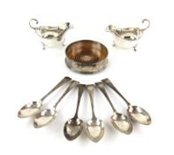 Edward VII set of six silver dessert spoons, by C W Fletcher & Son Ltd, Sheffield 1903, together