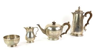 George V and later silver composite tea-service, by Spink & Son, London 1933, cream jug 1969, each