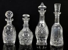 Waterford Colleen decanter h34cm with mushroom stopper, and three other Waterford decanters, two