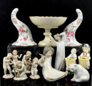 Three Lladro figurines, Aluminia girl and boy, five German porcelain musician cherubs, two Compton