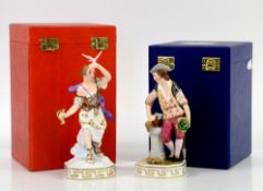 Royal Crown Derby porcelain figurines of the elements; 'Water', 'Air' and 'Earth', h17.5cm, all