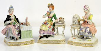 AMENDED DESCRIPTION Three Meissen figure groups each one modelled as a lady seated at a table,