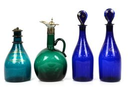 19th century blue/green glass decanter and stopper with two-ring neck, gilt highlights and