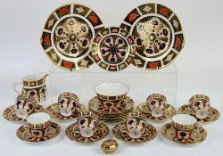 Royal Crown Derby Imari pattern no.1128 part tea service, comprising cream jug and sugar bowl, 8