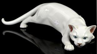 Royal Copenhagen creeping cat, no 473, 48cm