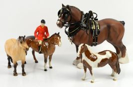 Beswick shire horse Ch 'Burnham Beauty' with harness, 27cm high, 'Highland', huntsman on a