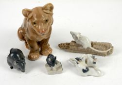 Bing and Grondahl lion no.1923, h15cm, and four Royal Copenhagen mice nos. 570, 512, 521 and one