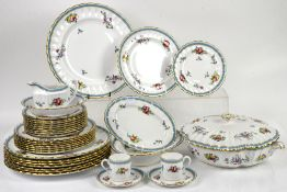 Spode Trapnell Sprays part dinner service for 8, including dinner plates, side plates, bowls, cups