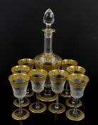 Saint Louis France crystal decanter set, decorated in gilt Thistle pattern, comprising footed