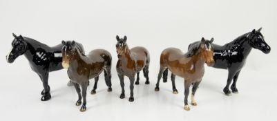 Five Beswick ponies, comprising Dale, Dartmoor, Fell, Exmoor, and New Forest, tallest 17.5cm, (5),
