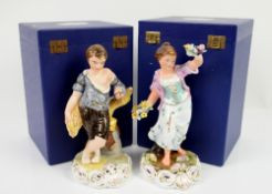 A pair of Royal Crown Derby figures of 'Spring' and 'Summer', modelled as a boy and girl set on