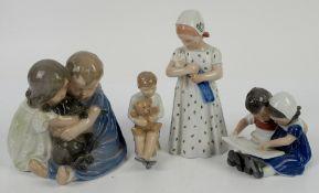 Royal Copenhagen figural groups no.707, no.561, no. 1567, no.5652, tallest h19.5cm, boy with teddy