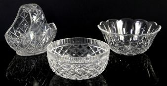 Waterford crystal basket, h18cm, fruit bowl, 23cm diameter, and another Waterford bowl, 20cm