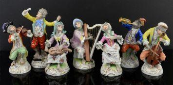 20th century Dresden Monkey Band figures, tallest 16cm high (7)